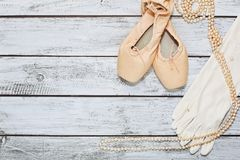 Ballet shoes and props on stage Stock Photo