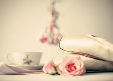 Ballet Shoes and roses Royalty Free Stock Image