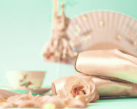 Ballet Shoes and roses Stock Images