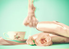 Ballet Shoes and roses Stock Photo