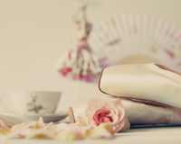 Ballet Shoes and roses Stock Photography