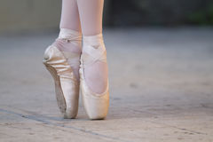 Ballet Shoes. On two lovely ballerinas before recital royalty free stock photography
