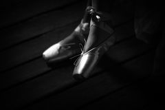 Ballet shoes. Womans feet with ballet shoes Stock Images