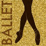 ballet Silhouette de danse sur un fond d'or Photos stock