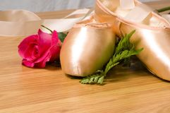 Ballet slipper - shoes with rose stock photo