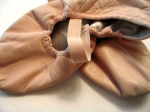 Ballet Slippers. Worn, pink ballet slippers Stock Photo