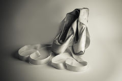 Ballet slippers no 2. Worn pair of ballet point shoes Stock Photography