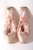 Ballet Slippers Old 2. Quite used and broken in toeshoes wrapped up for storage Stock Images