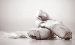 Ballet slippers in well-worn condition Royalty Free Stock Image