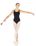 Ballet Steps. Young caucasian ballerina girl on white background and reflective white floor showing various ballet steps and positions. Starting Position. Not Stock Image