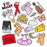Ballet Stickers, Badges, Patches Set with Theater Elements Stock Photography