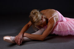 Ballet stretch (from side) royalty free stock photos