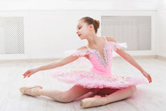 Ballet student exercising in ballet costume royalty free stock images