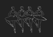 Ballet Swan Lake. Dance of little swans. Vector. Four dancing ballerinas. Academic choreography. Classic costume: tutu and pointe shoes. White silhouette on stock illustration