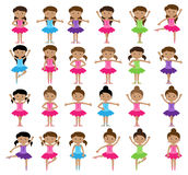 Ballet Themed Vector Collection with Diverse Girls Royalty Free Stock Photography