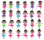 Ballet Themed Vector Collection with Diverse Girls Royalty Free Stock Images