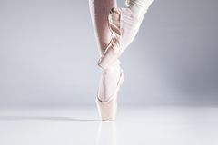 Ballet On Toes. Legs of a graceful ballet dancer en pointe on toes Stock Photos