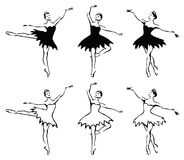 Ballet woman-dancers. Black and white illustration Stock Photography