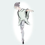 Ballet women point on her shoes on green background illustration hand drawn Stock Images