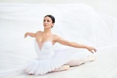 Ballet. Young ballerina dancing in studio stock photos