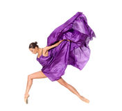 Balletdanser in de vliegende kleding Royalty-vrije Stock Foto's