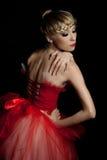 Balletdanser in rode kleding Royalty-vrije Stock Foto's