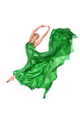 Balletdanser in vliegende satijnkleding Royalty-vrije Stock Afbeelding