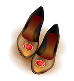 Ballets flats shoes with red brooch. Illustration of ballets flats shoes with red brooch Stock Image