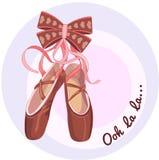 Balletschoenen met linten Stock Foto