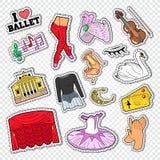 Ballett-Gekritzel mit Tanz-Theater-Aufklebern, Flecken und Ausweisen stock abbildung