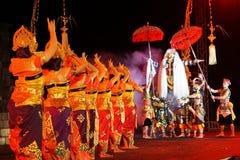 Ballett Tirta Amertha von Bali wurde an Boko-Königin-Festival 2018, Yogyakarta, Indonesien gezeigt stockfotografie