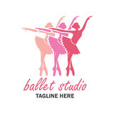 Ballettlogo für Ballettschule Auch im corel abgehobenen Betrag Lizenzfreie Stockbilder