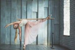 Balletto di pratica della giovane donna Immagini Stock