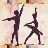 balletto Siluetta di dancing su fondo d'annata royalty illustrazione gratis