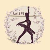 balletto Siluetta di dancing su fondo d'annata illustrazione vettoriale