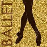 balletto Siluetta di dancing su un fondo dell'oro illustrazione di stock