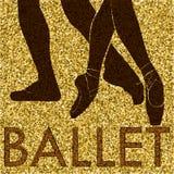 balletto Siluetta di dancing su un fondo dell'oro royalty illustrazione gratis