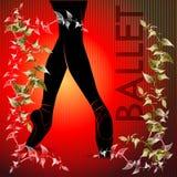 balletto Siluetta di dancing su un fondo rosso illustrazione di stock