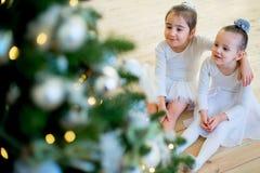 Balletttänzer mit zwei Jungen, der nahe Weihnachtsbaum sitzt Stockbilder