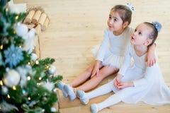 Balletttänzer mit zwei Jungen, der nahe Weihnachtsbaum sitzt Lizenzfreies Stockbild
