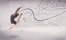 Balletttänzer-Performing Arten-Tanz mit Linien und Pfeilen lizenzfreie stockfotos