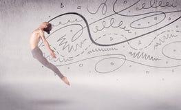 Balletttänzer-Performing Arten-Tanz mit Linien und Pfeilen stockfotografie
