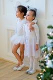 Balletttänzerumarmung mit zwei Jungen nahe Weihnachtsbaum Stockbilder