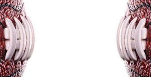 Ballfahne des amerikanischen Fußballs auf weißem Hintergrund und Platz für Text Stockfoto