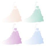 Ballgown dress. Vector set of 4 ballgown dresses vector illustration