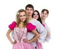 Balli il gruppo che indossa una posa russa piega del costume immagine stock