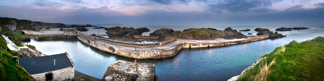 Ballintoy harbor. Seascape sea game of thrones filming location beautiful and tranquil Royalty Free Stock Photo