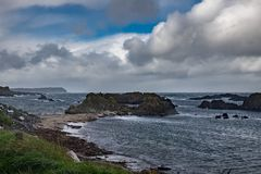 Landscape of Ballintoy Harbour, Northern Ireland. Ballintoy Harbour and Village are located alongside the B15 coast road, 17 miles north-east of Coleraine and stock photos