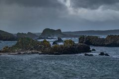 Landscape of Ballintoy Harbour, Northern Ireland. Ballintoy Harbour and Village are located alongside the B15 coast road, 17 miles north-east of Coleraine and royalty free stock images