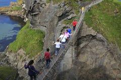 Tourist on Carrick a Rede bridge royalty free stock photos